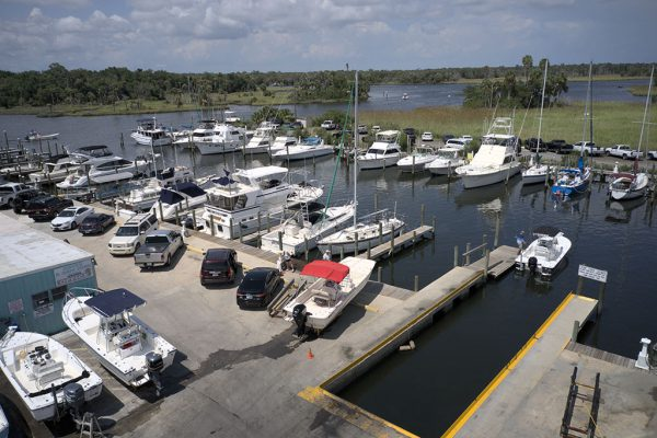 Image of the Twin Rivers Marina boat fleet.